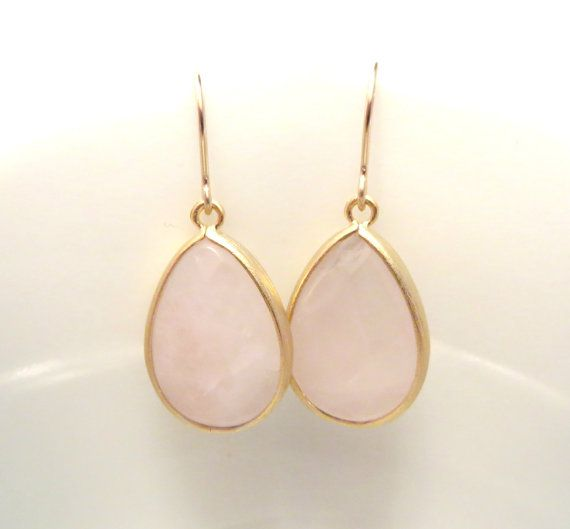 Pink Earrings Soft Pink Rose Quartz Earring Gold Earrings Stone Drop Earring Pastel Blush Pink Bridesmaids Earrings Pink Wedding Jewelry on Etsy, $26.00
