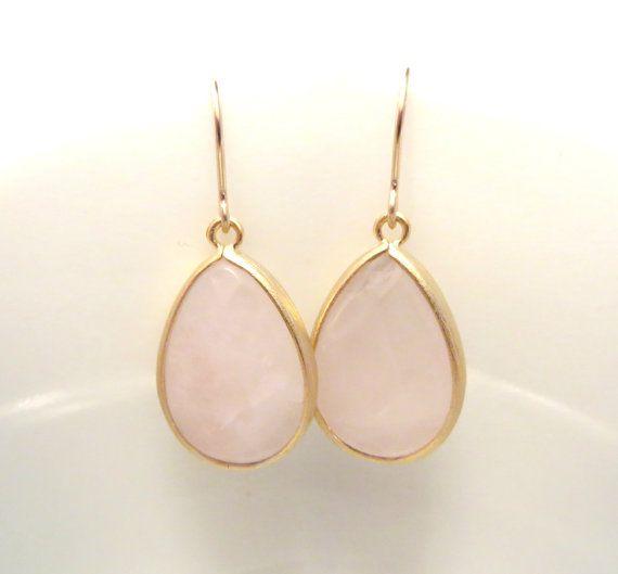 Blush Pink Earrings Rose Quartz Earring Gold by LoveShineBridal