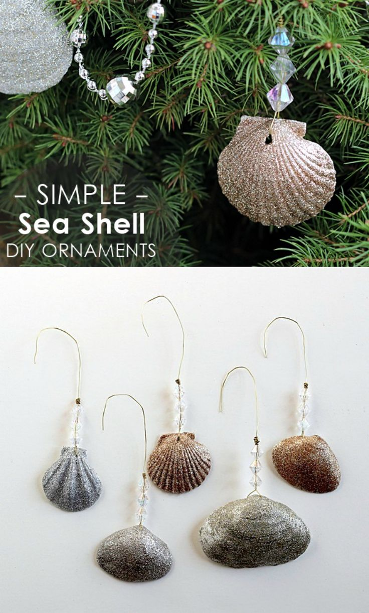 Glittery seashell ornaments diy glitter christmas for Seashell ornaments diy