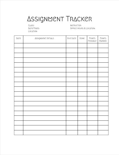 SIRIUSLY Brand Assignment Tracker Chart- Great For College ...