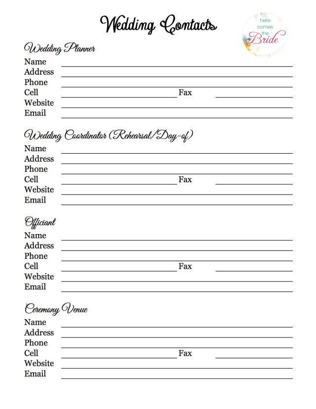 Wedding Planning Vendor Contact List Wedding Planning Checklist
