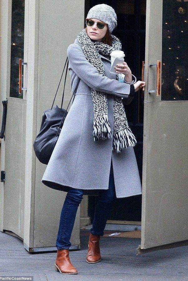 Emma Stone wearing Rag & Bone Monroe Sunglasses in Matte Tortoise, Loeffler Randall Felix Leather Ankle Boots, Cos Soft Leather Backpack and Madewell Color Shift Scarf