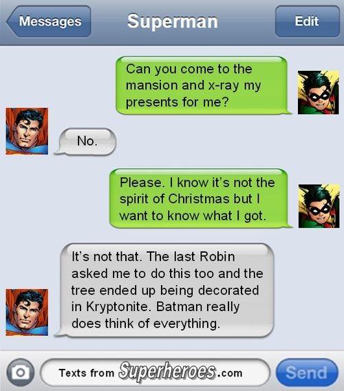 Robin and Superman text #christmas