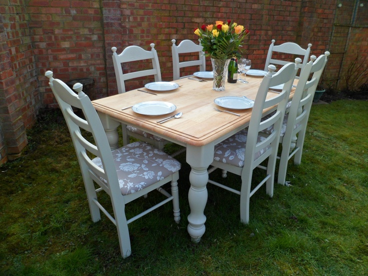 Beautiful 6ft oak shabby chic dining table and 6 chairs painted in farrow ball ebay for - Shabby chic dining table sets ...