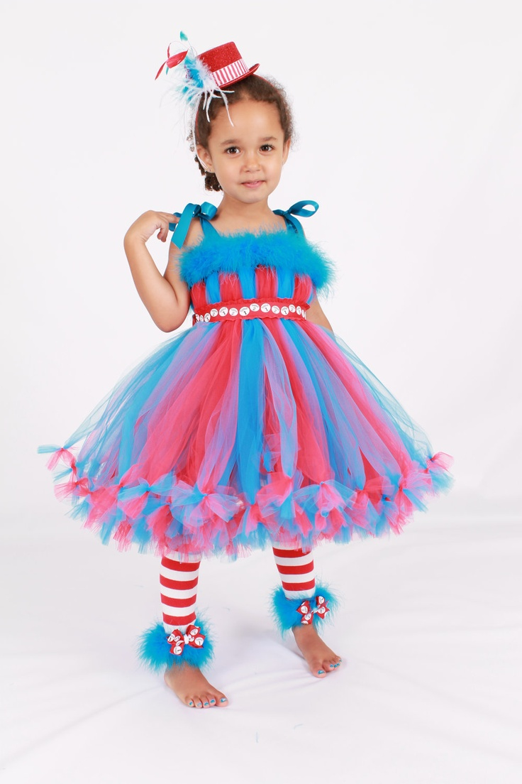 Petti Tutu Dress - Halloween or Birthday Costume - Red & Turquoise - Thing 1 or Thing 2 - 3-4 Toddler Girl. $85.00, via Etsy.