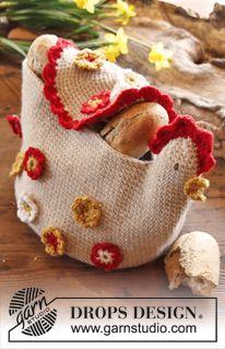 """DROPS Easter: Crochet DROPS chicken basket in """"Nepal"""". ~ DROPS Design"""