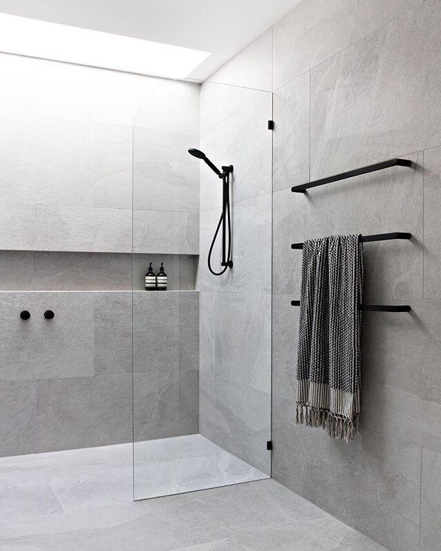Design Styling Reno Tips On Instagram Z S Design Crush Large Format Tiles If The In 2020 Modern Bathroom Design Modern Bathroom Bathroom Interior Design