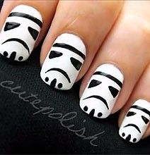 Easy Stormtrooper Nail Art Tutorial Taught By Darth Vader. I'm so doing this.