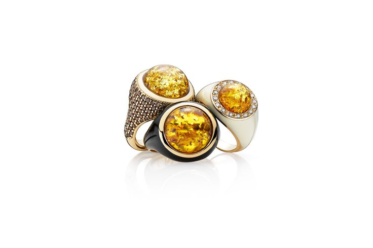 House of Amber - Exquisite amber rings from our Enlightened Enamel Collection.