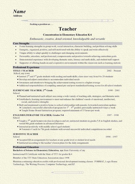 17 Best Ideas About Teacher Resumes On Pinterest | Teaching Resume