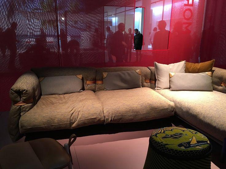 Moroso sofa at Milan Design Week 2016    http://www.malfattistore.it/en/2016/04/malfattistore-milan-design-week-2016/   #malfattistore #interiordesign #onlineshop #italiandesign #modernfurniture #sofa #livingroom
