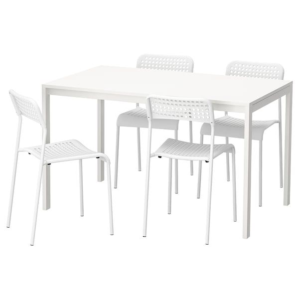 IKEA MELLTORP ADDE White Table and 4 chairs   Dining room
