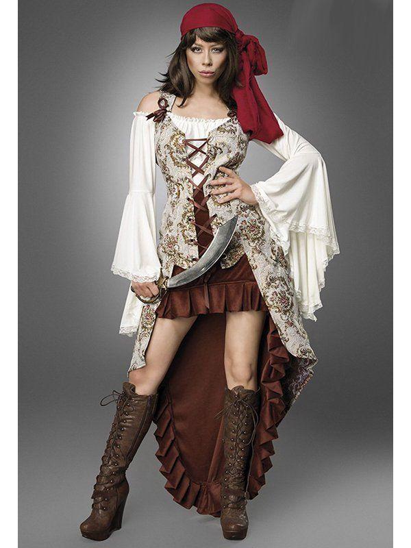 Sehr ausgefallen ist dieses Karnevalskostüm Piratenbraut Bride. Das Kostümset besteht aus einem asymmetrischen Rock, einer Weste, einer Bluse, Kopftuch und Säbel