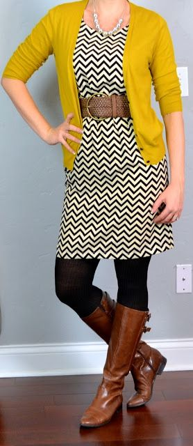 Chevron dress, mustard cardigan, brown riding boots
