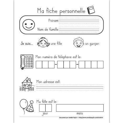 Fichier PDF téléchargeable En noir et blanc 1 page  Voici une fiche personnelle pour le préscolaire dans laquelle l'élève écrit son prénom et son nom de famille, son numéro de téléphone, son adresse et sa date de fête. Vous pouvez insérer cette page au début des portfolios.