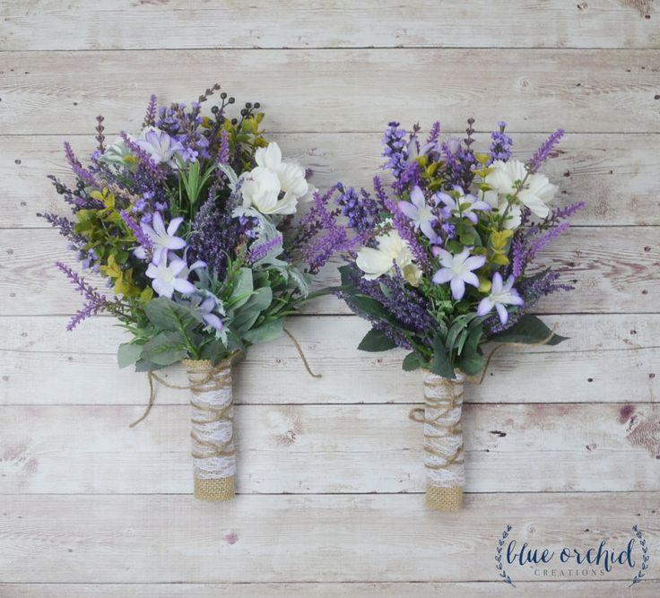 Wildflower Bridesmaid Bouquet - Lavender Bouquet, Purple Bouquet, Fall Bouquet, Boho Bouquet, Rustic Bouquet, Bridesmaid Bouquets, Wedding by blueorchidcreations on Etsy