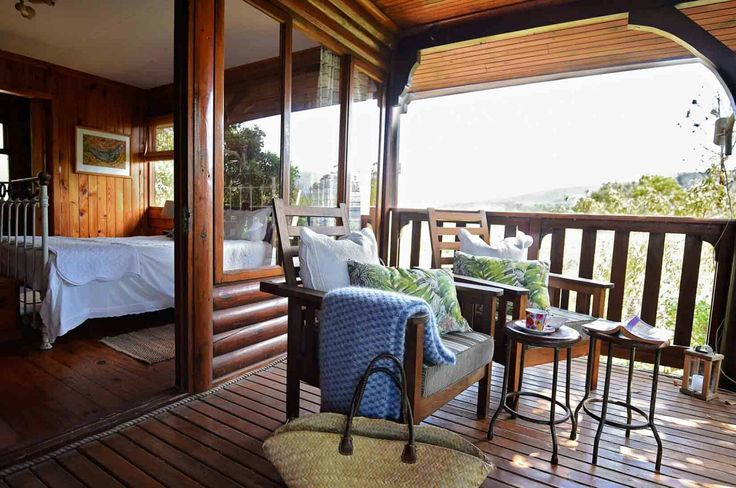 Deck from one of the bedroom looking onto the Sauvignon blanc vines and the waterfall #louannwaters