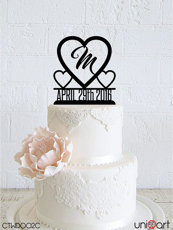 Big Heart Personalized Wedding Cake Topper, Customizable Date, Letter, Removable Stakes, Free Base for After Event, Gift, Keepsake CTWD002C