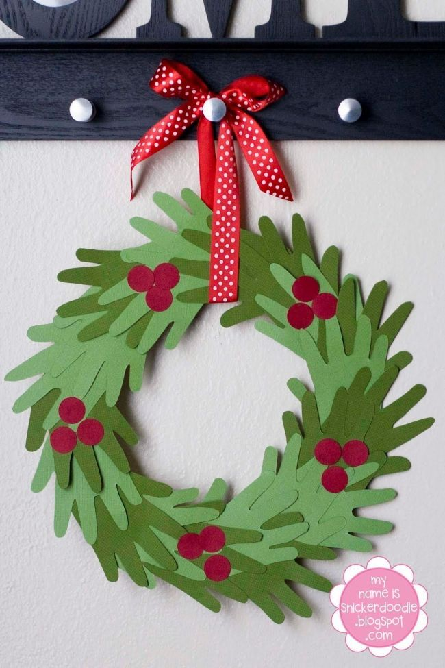 Hand Print Wreath Kids Crafts for Kids, Pin Today!
