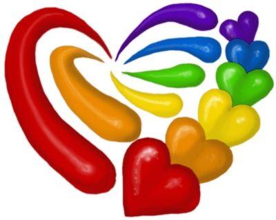 heart rainbow splash