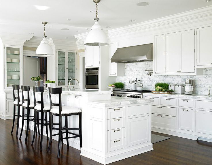 Amazing Kitchen Design With Glossy Black Barstools, White Industrial  Kitchen Island Hanging Pendant Lights,