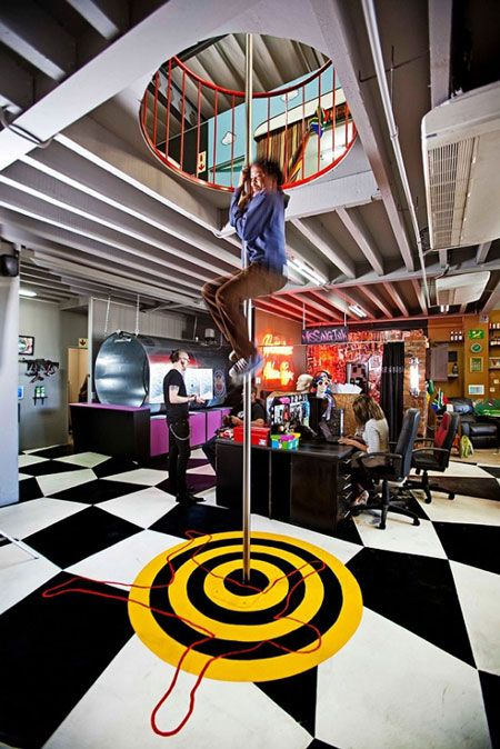 If you thought the only office you'd ever find a fireman's pole in would be a firehouse, think again!