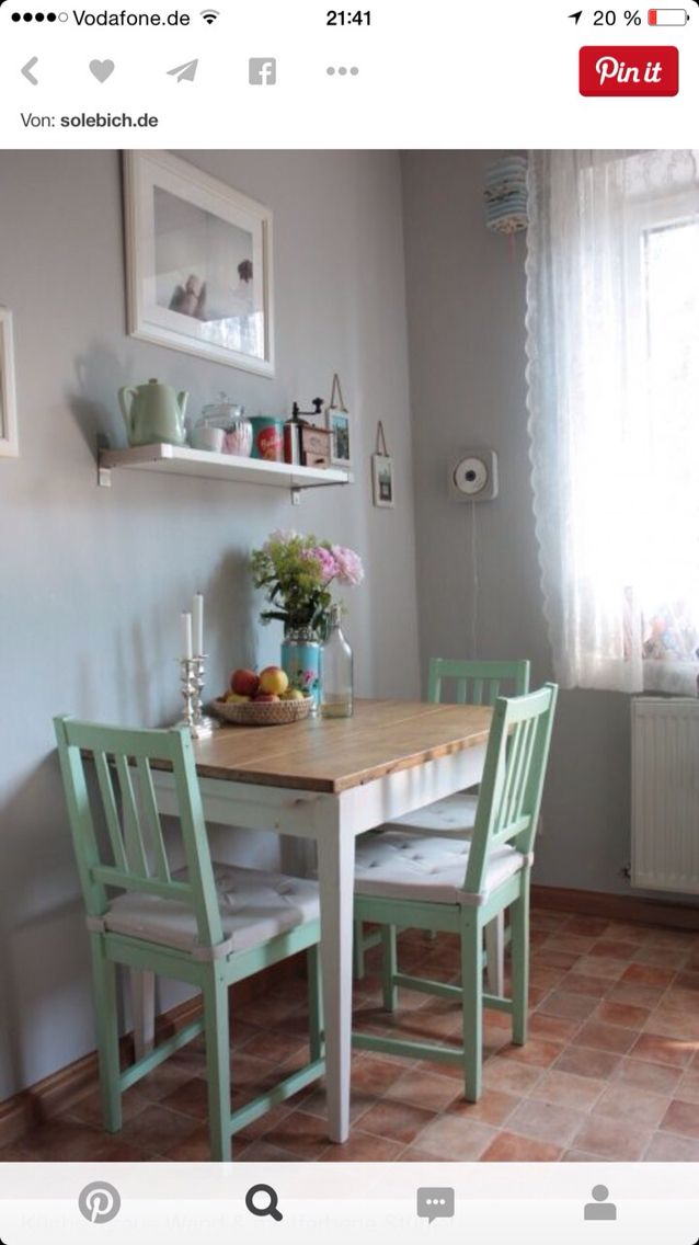 Einfach klasse dieses gr n kitchen pinterest for Small eating table