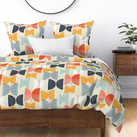 Retro 1950s Duvet Cover Mod Butterflies Quinoa By Friztin Etsy Duvet Covers Duvet Cover Design Mid Century Bed