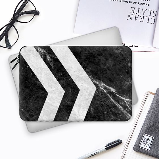 Black 2 Striped Marble - Macbook Sleeve #marble #stone #texture #black #white #striped #case #macbook #sleeve