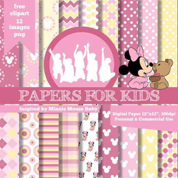 Documentos digitales Baby Minnie niños invitación Fondo
