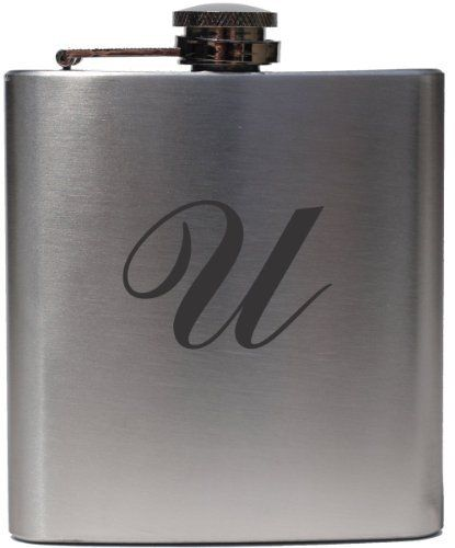 "Monogrammed Commercial Script ""U"" 6oz Stainless Steel Hip Flask by Etched Laser Art. $18.99. Monogram is Engraved With Highest Detail. 6oz Stainless Steel Hip Flask. Guarenteed to Never Fade or Wear Off. This is a stainless steel flask with a beautiful monogram laser etched onto it. The laser interacts with the stainless steel using a chemical compound to create a unique darkened black look with great detail. The logo is very resilient to scratching and fading."