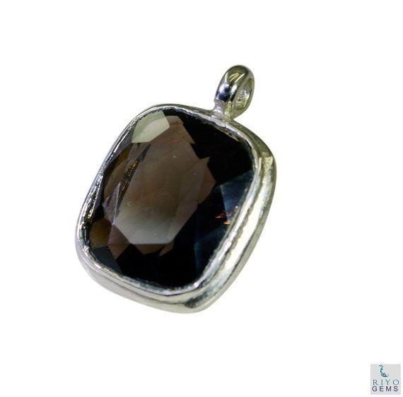 Smoky Quartz Recycled Silver Jewelry Huggie Pendants L by RiyoGems