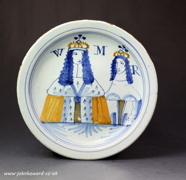 Antique English delft ware pottery plate commemorating King William and Queen Mary late 17th century : The British Antique Dealers' Association