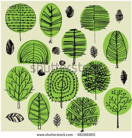 art sketching set of vector trees symbols