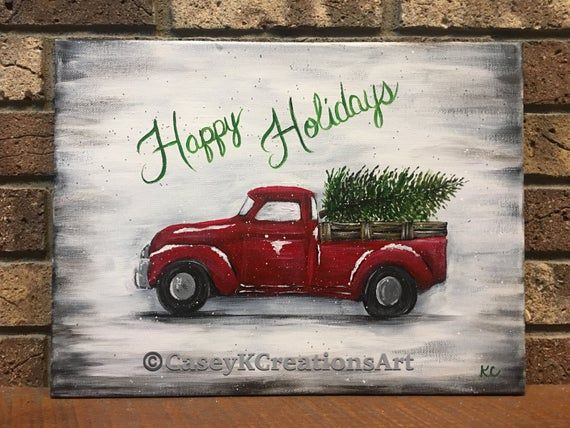 Red Truck Painting On Canvas Class Sunday Nov 17th From Etsy Christmas Canvas Christmas Paintings Christmas Paintings On Canvas