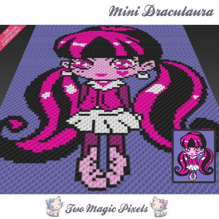 Mini C2c Pattern: Mini Draculaura C2C Crochet Graph
