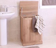Nara SOLID OAK bathroom FURNITURE laundry bin BASKET
