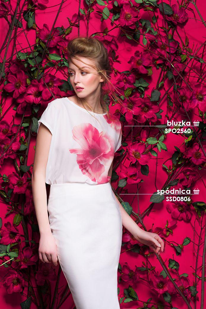Ołówkowa spódnica i bluzka w kwiaty #topsecret