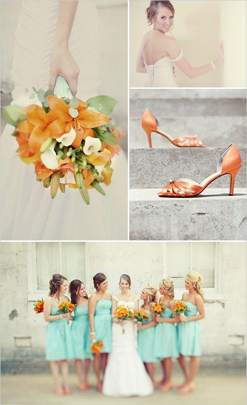Orange aqua wedding: Aqua Wedding, Mint Green, Orange Wedding Theme, Wedding Ideas, Bridesmaid Dresses, Teal Wedding, Colors Palettes, Wedding Colors, Green And Orange