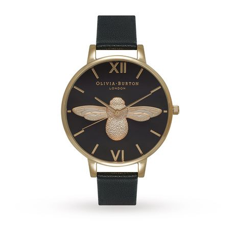 Olivia Burton Moulded Bee Black Dial & Gold OB15AM64 | Ladies Watches | Watches | boutique.Goldsmiths