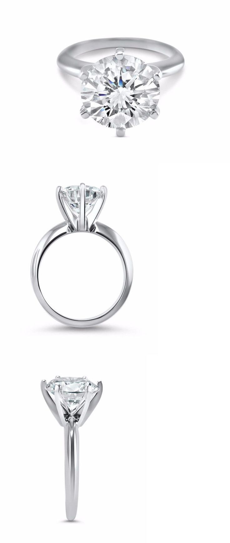 CZ Moissanite and Simulated 92868: 14K White Gold 3 Carat White Round Cz Engagement Ring 6 Prong 9 Mm Solitaire -> BUY IT NOW ONLY: $359.0 on eBay!