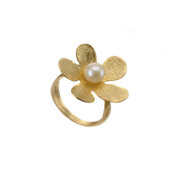 Δαχτυλίδι χειροποίητο χρυσό  Κ14 μαργαριτάρι 344Y