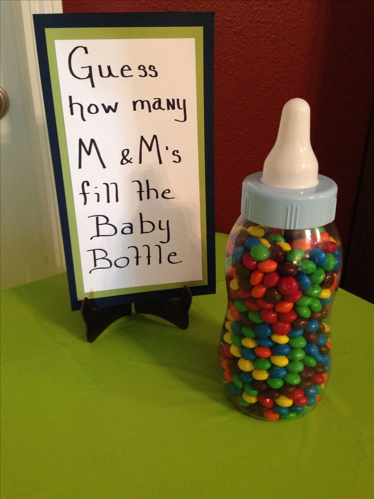 Was a great game at my shower but I used mini m&ms and it was a little more challenging. Pain in the rear to count out the m&ms (894 total) but everyone loved it so I would suggest it at any shower. When they are passing the bottle around to guess is a great time for people to introduce themselves. More