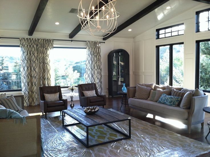 Wood Floors Dark Wood Windows White Trim Wood Beams