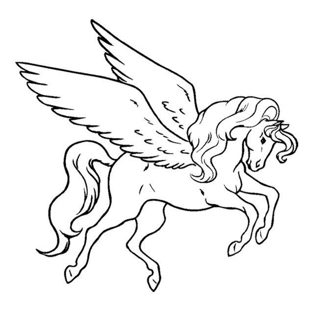 Unicorn Flying Coloring Page For