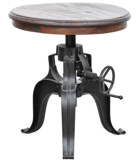 Wood And Metal Uriah Adjustable Accent Table: Industrial Round Table Crank Wood End Accent Adjustable