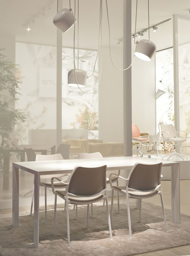More from Milano: New STUA Deneb table in with white frame and matching Gas chairs upholstered in Kvadrat Steelcut Trio.