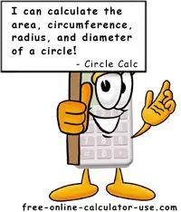 Free Online Circle Calculator to calculate area, circumference, diameter, and radius.