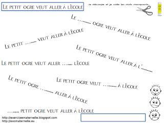 Maternelle: Le petit ogre veut aller à l'école : les titres à trous et l'association script/capitales/cursives