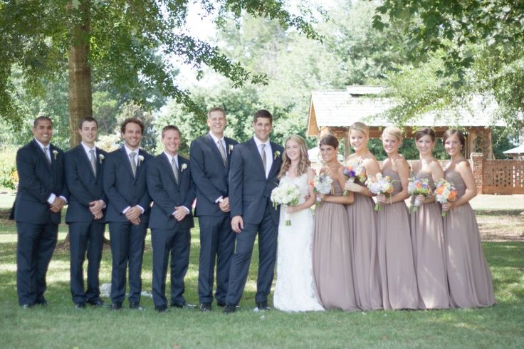dark gray groomsmen suits with light tan bridesmaid dresses - wedding party on Borrowed and Blue